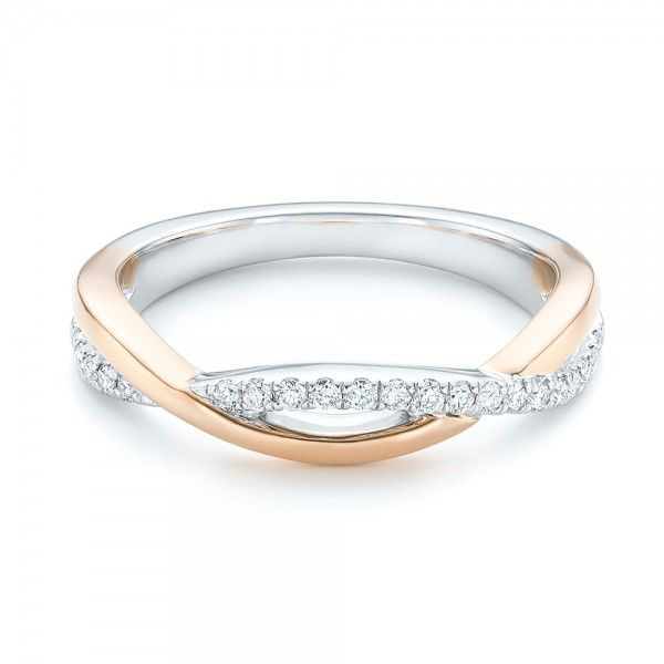 14k White Gold And 14K Gold Two-tone Wedding Band - Flat View -  102679