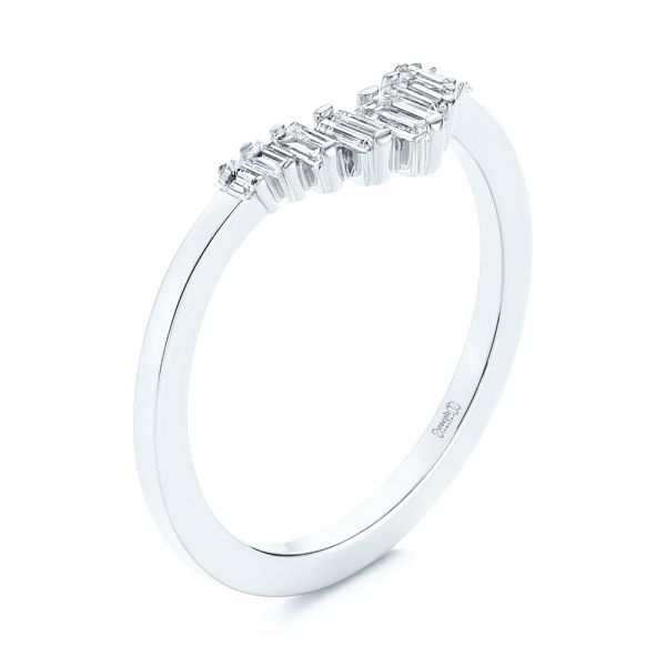 V-Shaped Baguette Diamond Wedding Band - Image
