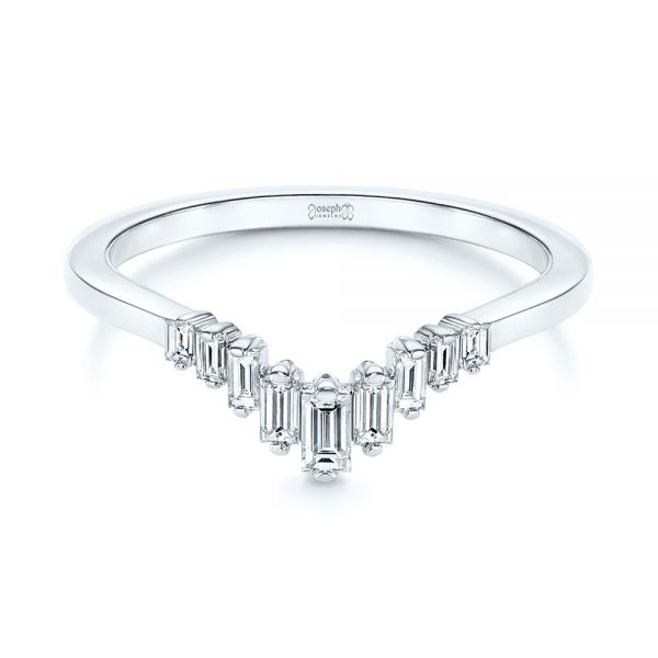 14k White Gold V-shaped Baguette Diamond Wedding Band - Flat View -  105988 - Thumbnail