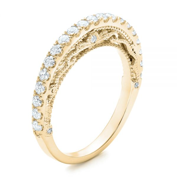 18k Yellow Gold 18k Yellow Gold Vintage Diamond Wedding Band - Three-Quarter View -  102551