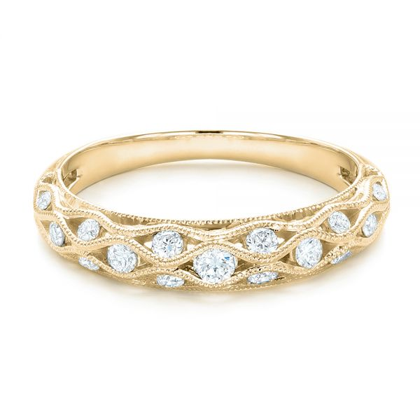 18k Yellow Gold 18k Yellow Gold Vintage Diamond Wedding Band - Flat View -  102531