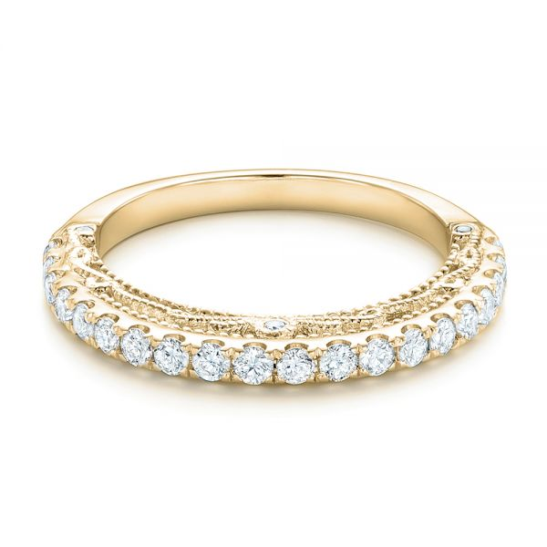 18k Yellow Gold 18k Yellow Gold Vintage Diamond Wedding Band - Flat View -  102551