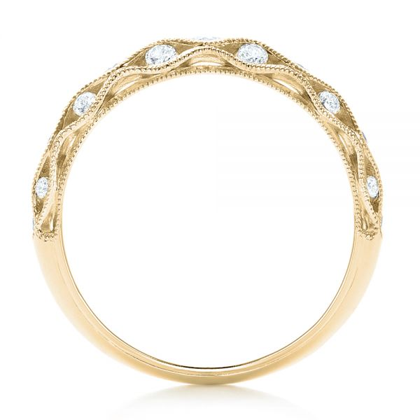 18k Yellow Gold 18k Yellow Gold Vintage Diamond Wedding Band - Front View -  102531