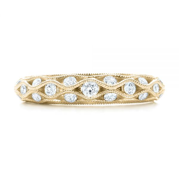 18k Yellow Gold 18k Yellow Gold Vintage Diamond Wedding Band - Top View -  102531