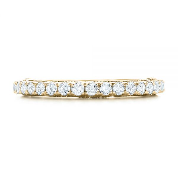 18k Yellow Gold 18k Yellow Gold Vintage Diamond Wedding Band - Top View -  102551