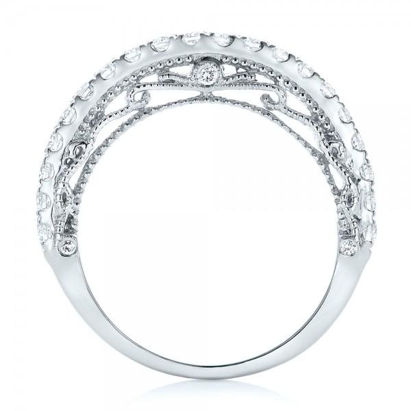 Vintage Diamond Wedding Band - Finger Through View