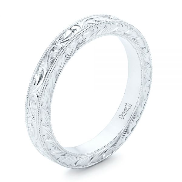White Gold Hand Engraved Wedding Band