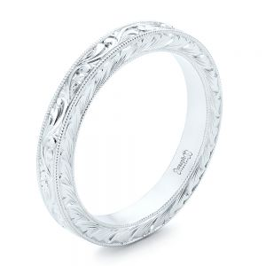 White Gold Hand Engraved Wedding Band - Image