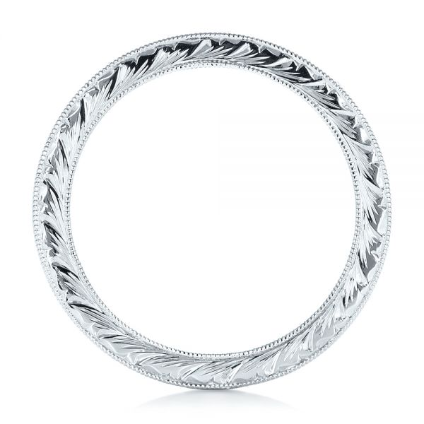 14k White Gold Hand Engraved Wedding Band - Front View -  102436