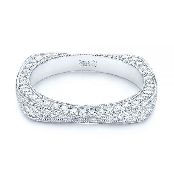 18k White Gold Women's Diamond Anniversary Band - Flat View -