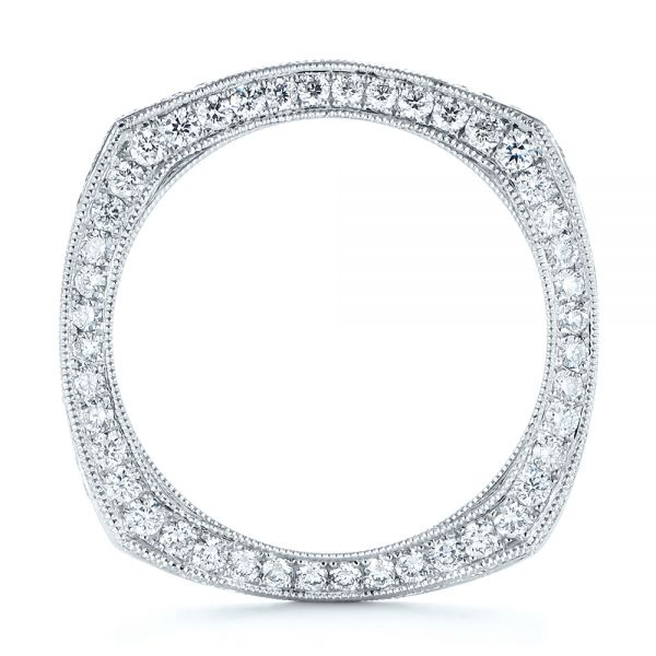 18k White Gold Women's Diamond Anniversary Band - Front View -