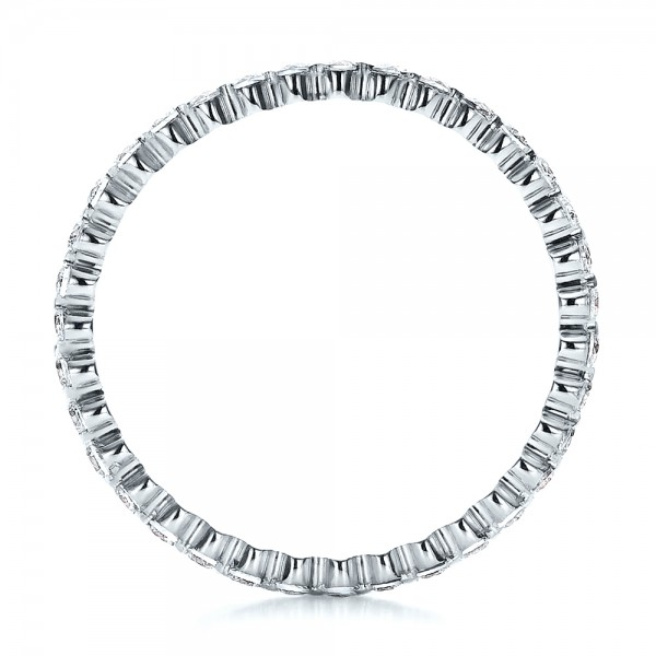 Women's Diamond Tension Set Eternity Band - Finger Through View