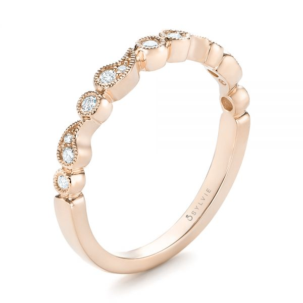 18k Rose Gold 18k Rose Gold Women's Diamond Wedding Band - Three-Quarter View -