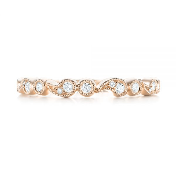 18k Rose Gold 18k Rose Gold Women's Diamond Wedding Band - Top View -