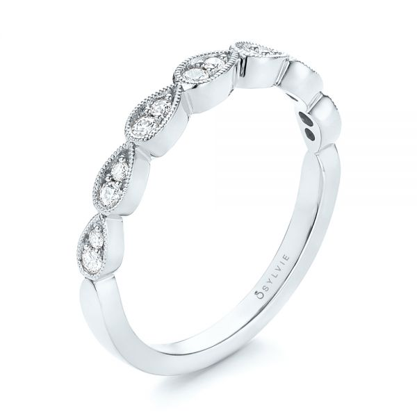 14k White Gold 14k White Gold Womens Diamond Wedding Band - Three-Quarter View -