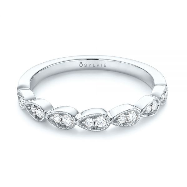 14k White Gold 14k White Gold Womens Diamond Wedding Band - Flat View -