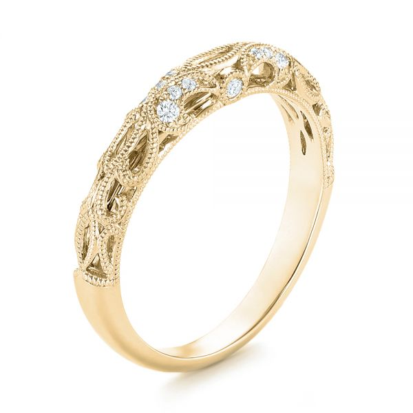 14k Yellow Gold 14k Yellow Gold Women's Diamond Wedding Band - Three-Quarter View -  103111