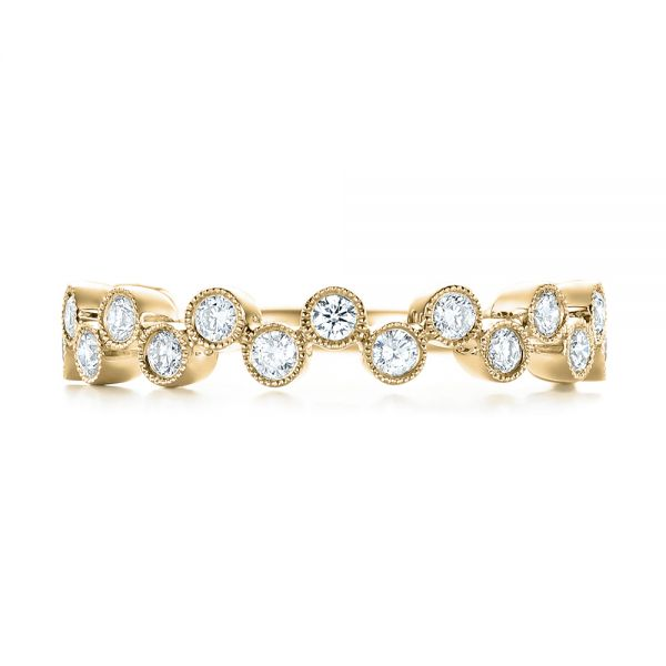 18k Yellow Gold 18k Yellow Gold Women's Diamond Wedding Band - Top View -