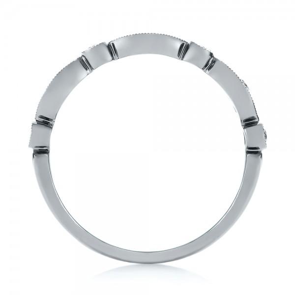 Women's Diamond Wedding Band - Finger Through View