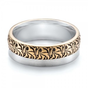 Women's Engraved Two-Tone Wedding Band