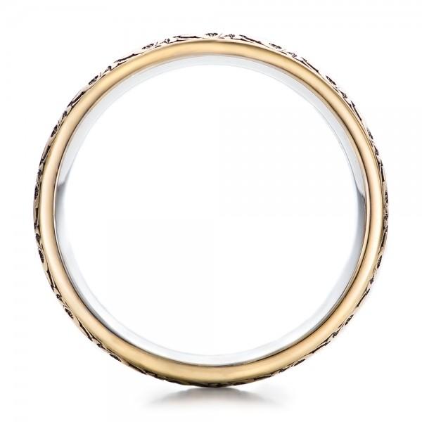 Women's Engraved Two-Tone Wedding Band - Finger Through View