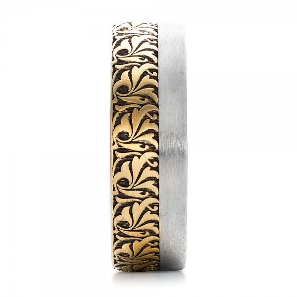Women's Engraved Two-Tone Wedding Band - Side View