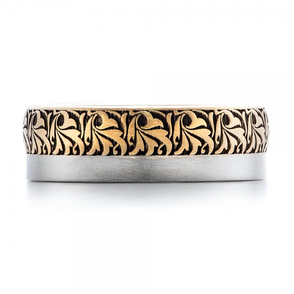 Women's Engraved Two-Tone Wedding Band - Top View
