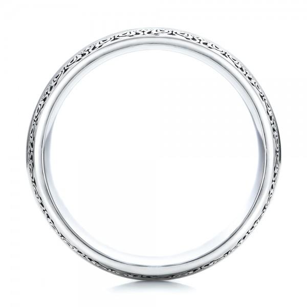 Women's Engraved Wedding Band - Finger Through View