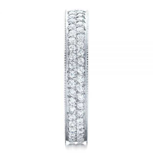 18k White Gold Women's Pave Diamond Eternity Band - Side View -