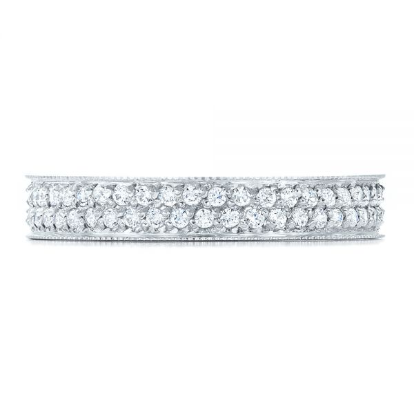18k White Gold Women's Pave Diamond Eternity Band - Top View -