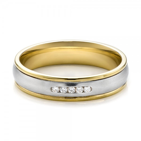 Women's Two-Tone Gold and Diamond Wedding Band - Flat View -  100156 - Thumbnail