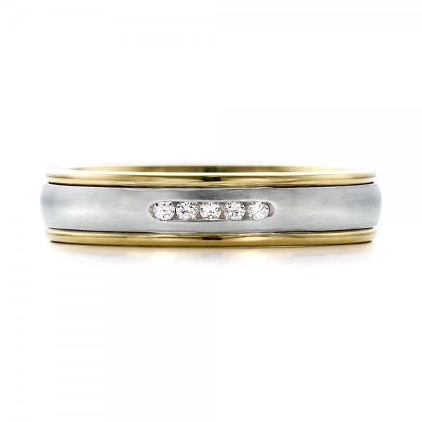 Women's Two-Tone Gold and Diamond Wedding Band - Top View -  100156 - Thumbnail