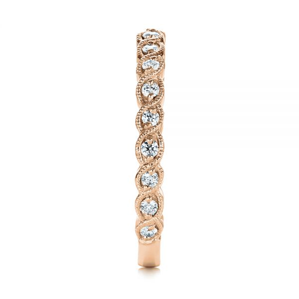18k Rose Gold 18k Rose Gold Woven Diamond Wedding Band - Side View -  105283