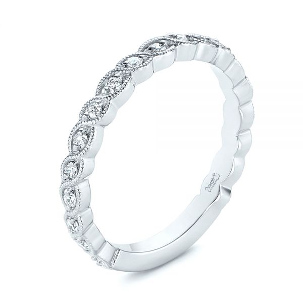 14k White Gold 14k White Gold Woven Diamond Wedding Band - Three-Quarter View -