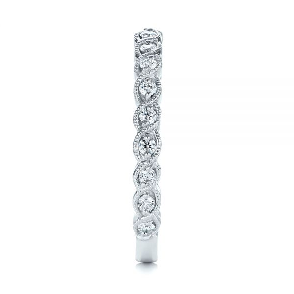 14k White Gold 14k White Gold Woven Diamond Wedding Band - Side View -  105283 - Thumbnail