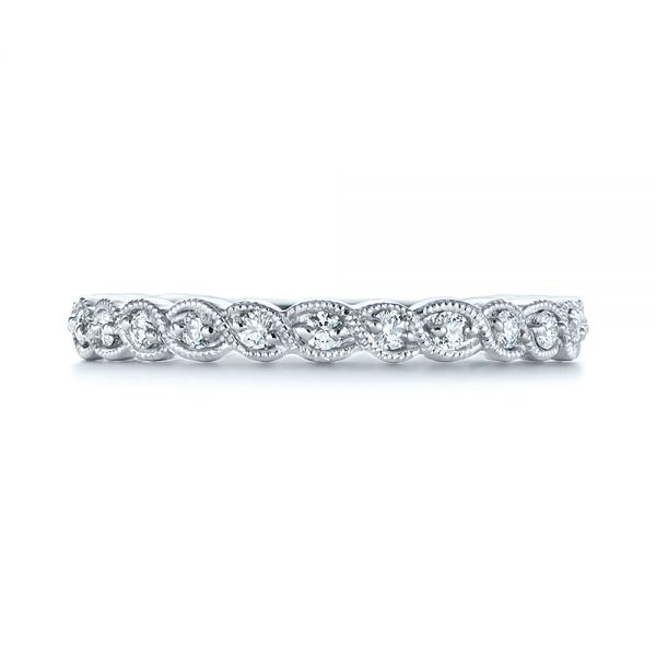 14k White Gold 14k White Gold Woven Diamond Wedding Band - Top View -  105283 - Thumbnail