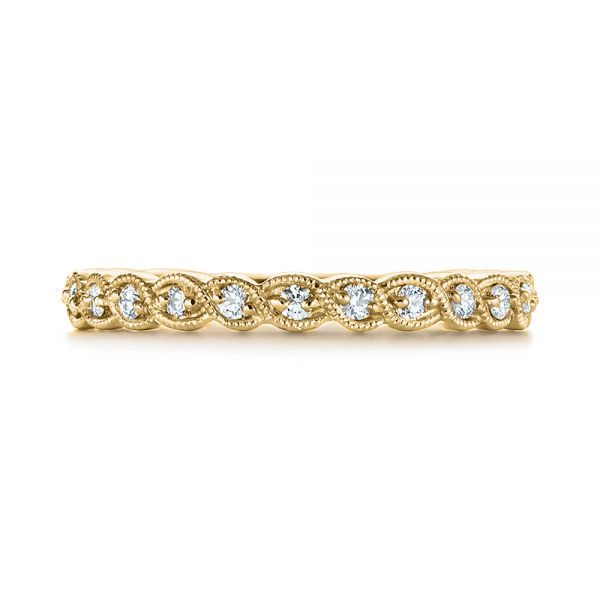 18k Yellow Gold 18k Yellow Gold Woven Diamond Wedding Band - Top View -  105283 - Thumbnail