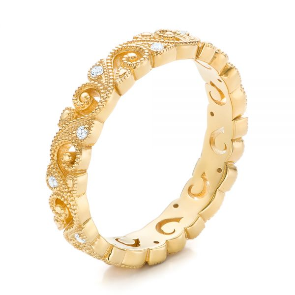 18k Yellow Gold Diamond Organic Stackable Eternity Band - Three-Quarter View -