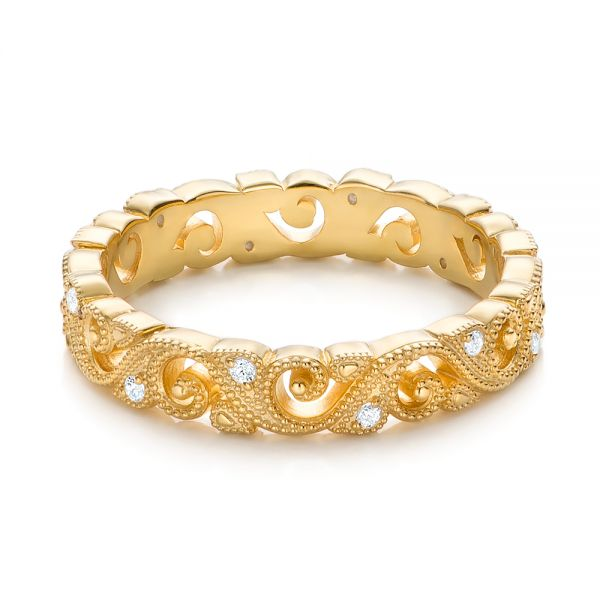 18k Yellow Gold Diamond Organic Stackable Eternity Band - Flat View -