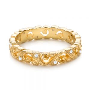 Yellow Gold Diamond Organic Stackable Eternity Band