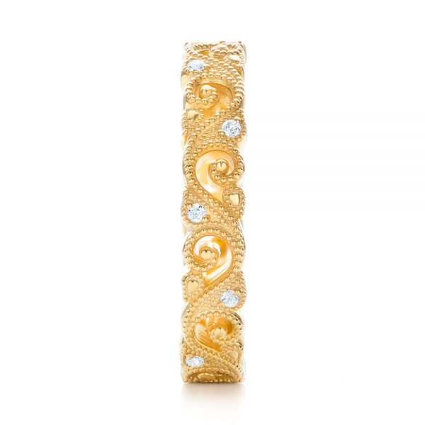 18k Yellow Gold Diamond Organic Stackable Eternity Band - Side View -