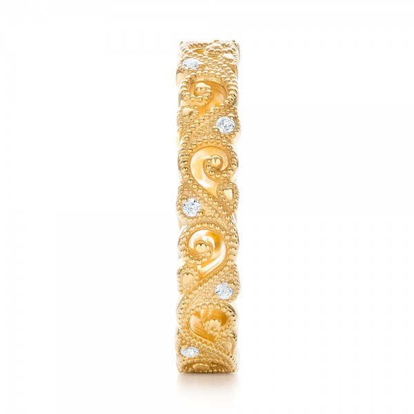 Yellow Gold Diamond Organic Stackable Eternity Band - Side View -  101889 - Thumbnail