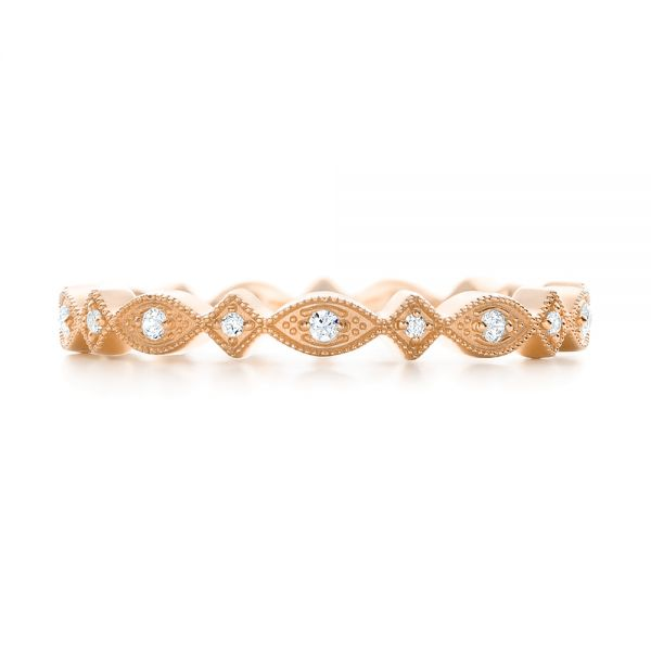 14k Rose Gold 14k Rose Gold Diamond Stackable Eternity Band - Top View -