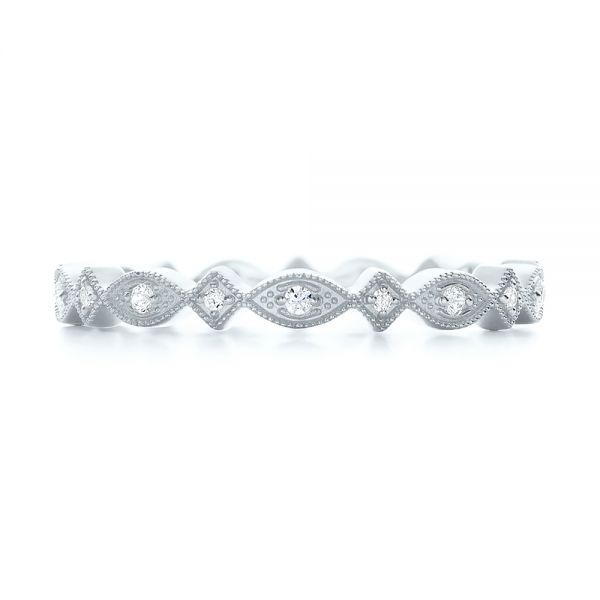 14k White Gold 14k White Gold Diamond Stackable Eternity Band - Top View -
