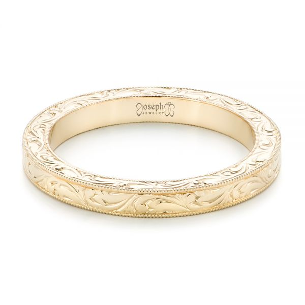 14k Yellow Gold Hand Engraved Wedding Band - Flat View -