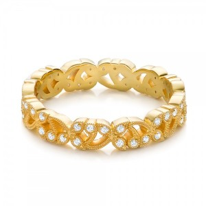 Yellow Gold Organic Diamond Stackable Eternity Band