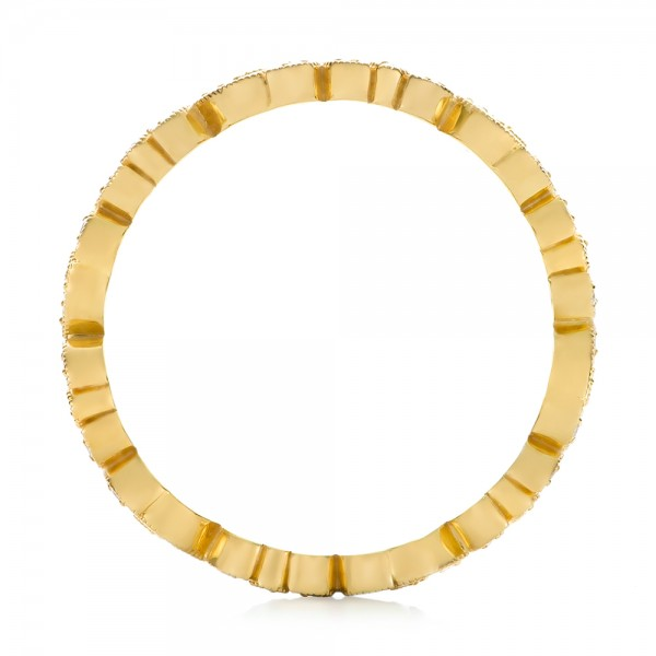 Yellow Gold Organic Diamond Stackable Eternity Band - Finger Through View