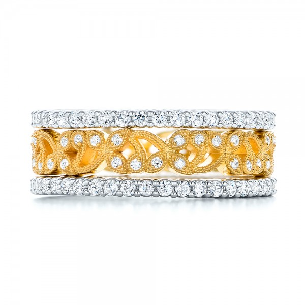 Yellow Gold Organic Diamond Stackable Eternity Band - Top View