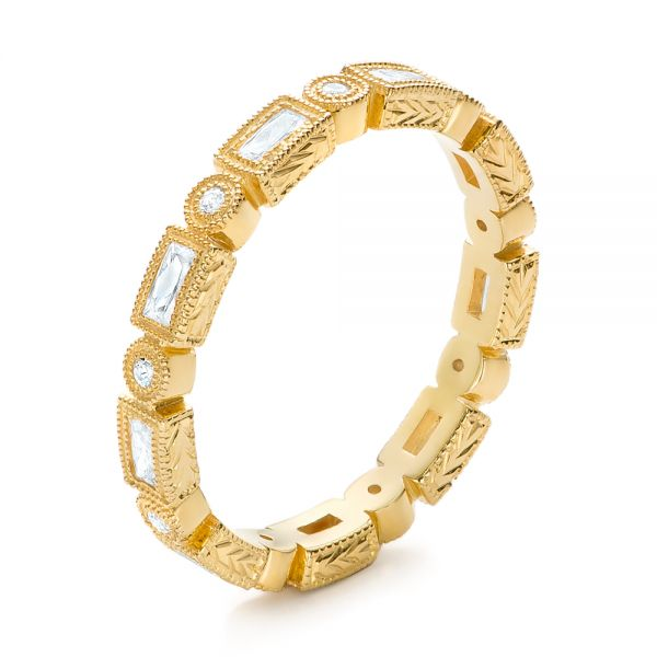Yellow Gold Round and Baguette Diamond Stackable Eternity Band - Image