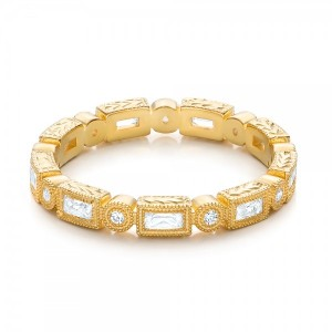 Yellow Gold Round and Baguette Diamond Stackable Eternity Band
